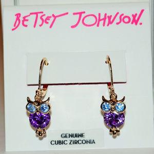 Betsey Johnson Crystal Owl Drop Earrings